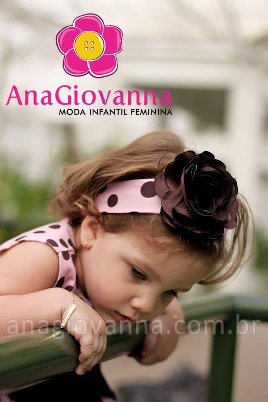 Vestido para Bebê Rosa com Bolinhas Marrom