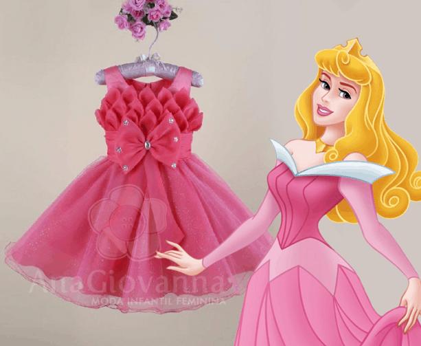 Vestido infantil de festa Princesa Aurora