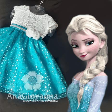 Vestido elsa frozen infantil