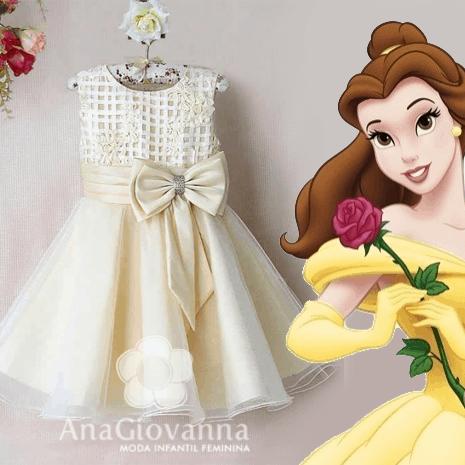 Vestido infantil princesa bela para festa