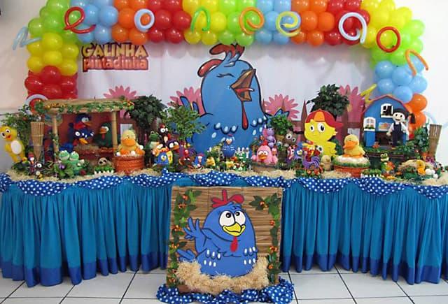 decoracao galinha pintadinha azul e amarelo:Decoracao Galinha Pintadinha Vestido para Festa de Um Ano da Galinha