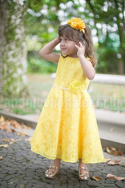 Vestido infantil azul com amarelo