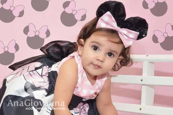 Vestido Minnie Rosa infantil feminino