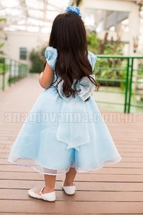 Vestido Infantil Princesa Cinderela - costas