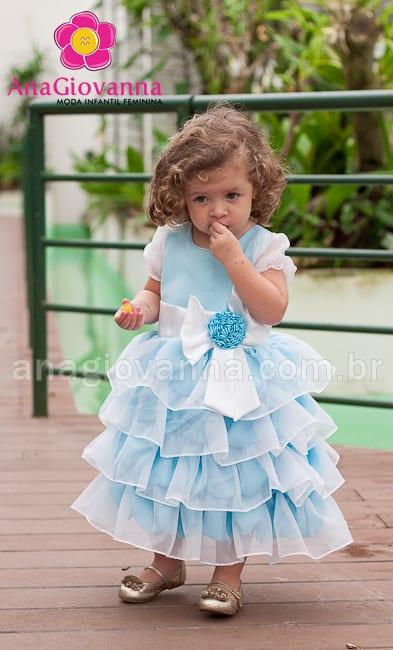 Vestido infantil de princesa azul