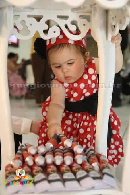 Vestido Minnie Vermelha de festa baby