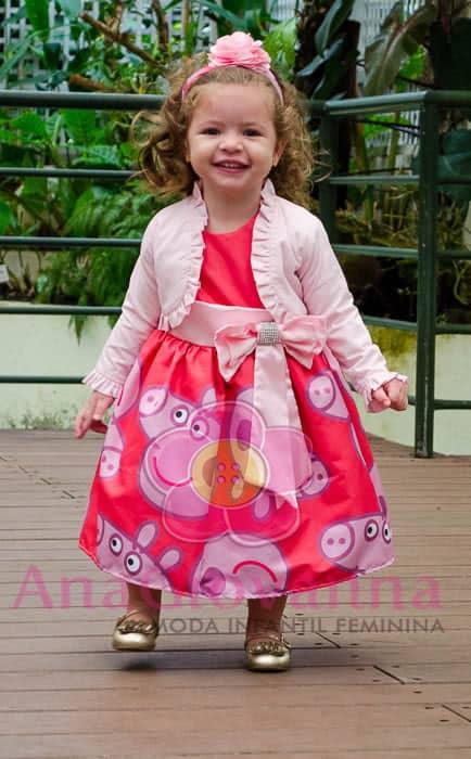 Vestido para peppa pig infantil com bolero
