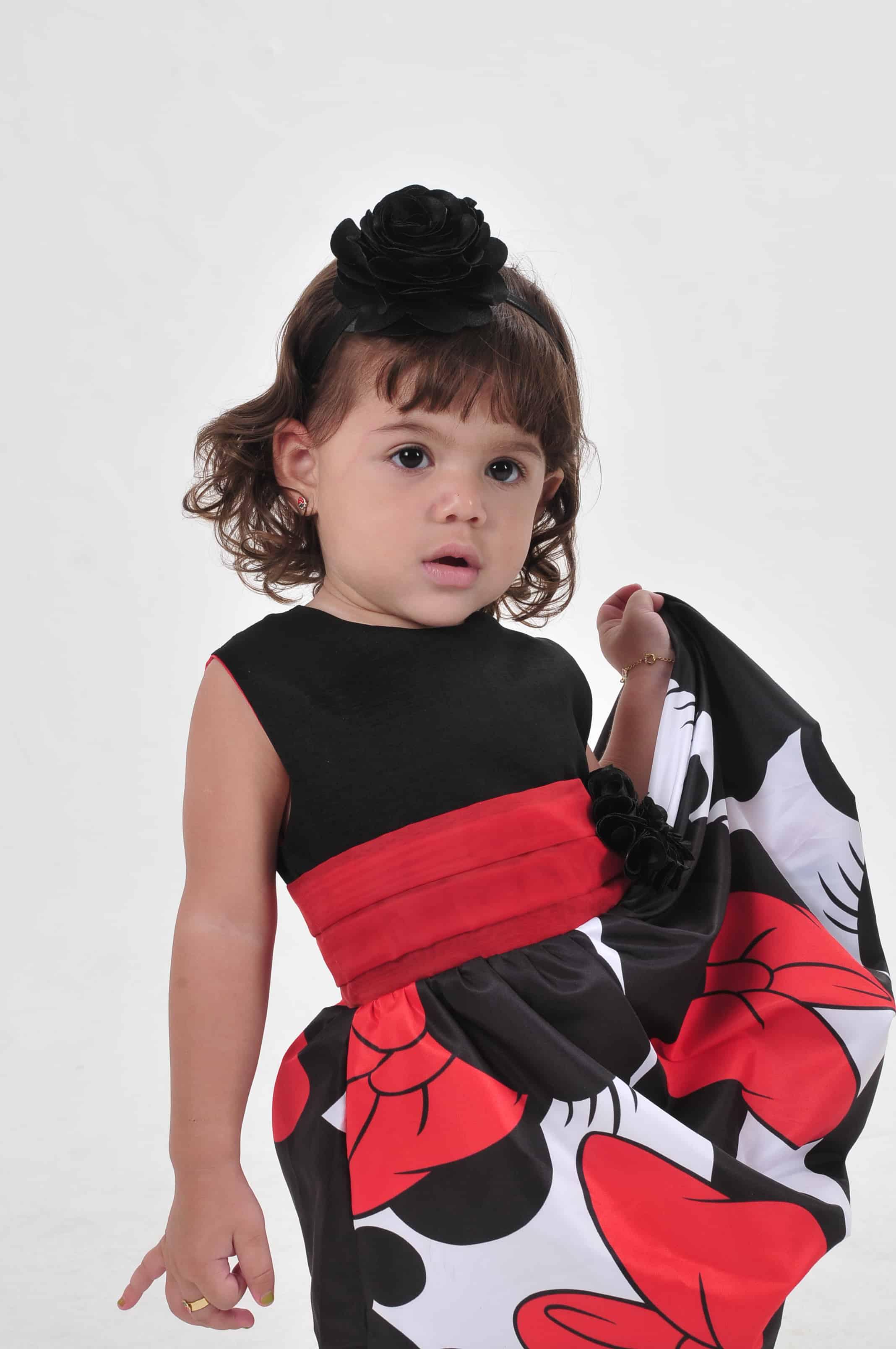 Vestido Minnie infantil preto e vermelho