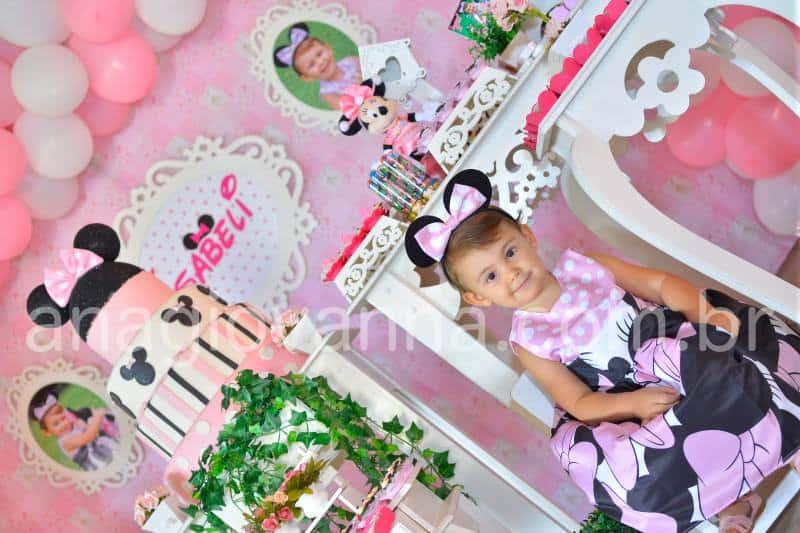 Vestido da Minnie Rosa para festa Elas vestem vestidos infantil de festa Ana Giovanna