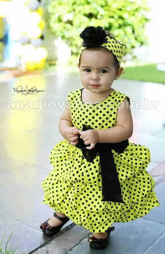 Vestido de festa infantil abelhinha Vestidos de Festa Infantil Ana Giovanna
