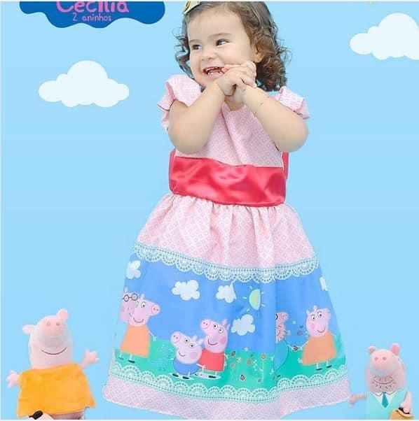 vestido de luxo peppa Elas vestem vestidos infantil de festa Ana Giovanna
