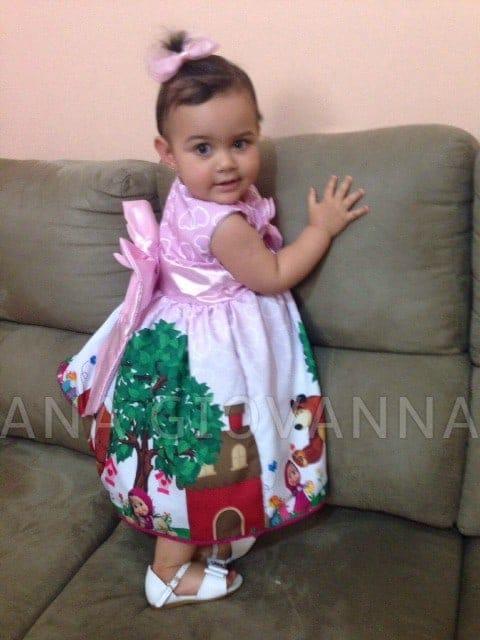 vestido masha e o urso Elas vestem vestidos infantil de festa Ana Giovanna