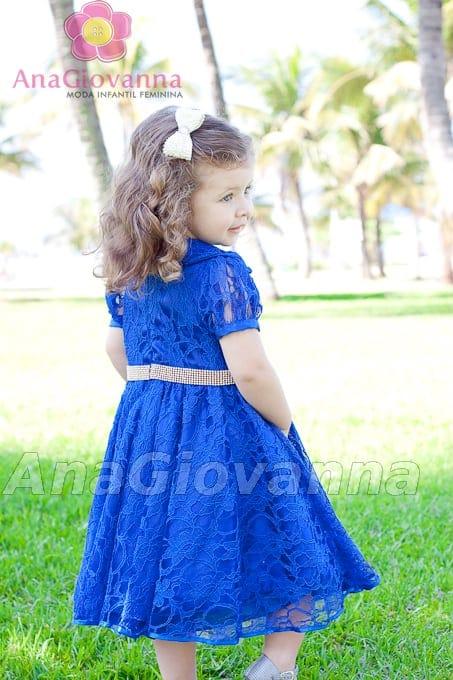 vestido de renda infantil azul Vestidos de festa para criança
