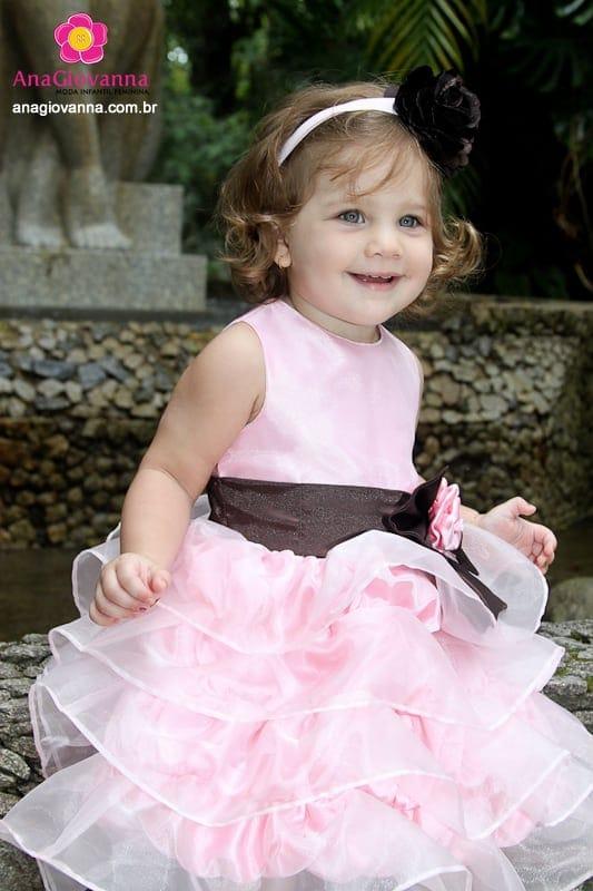 Vestido Festa Infantil Marrom com Rosa