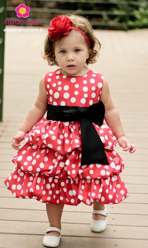 Vestido Festa Infantil Minnie Vermelha