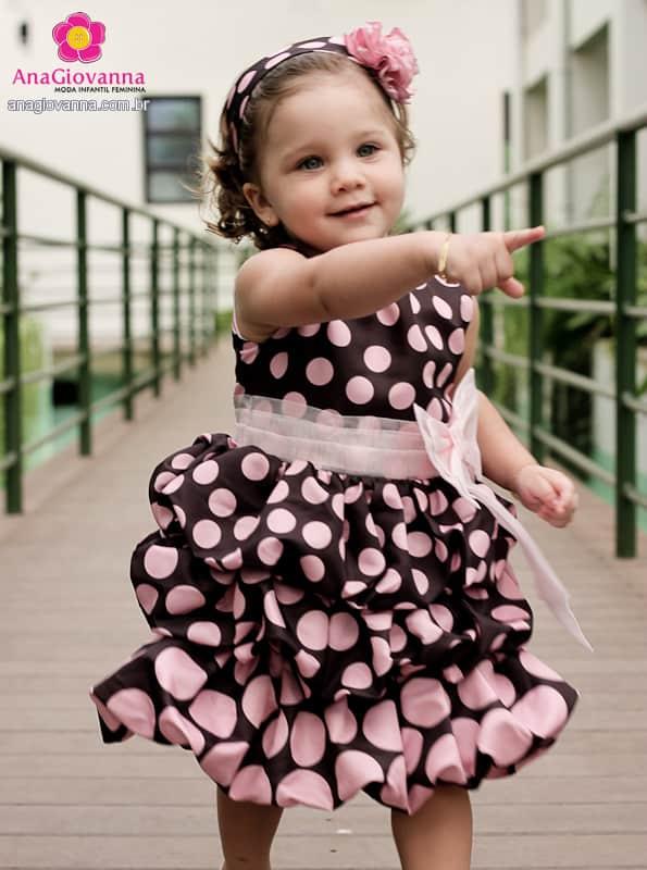 Vestido Marrom e Rosa infantil de aniversário