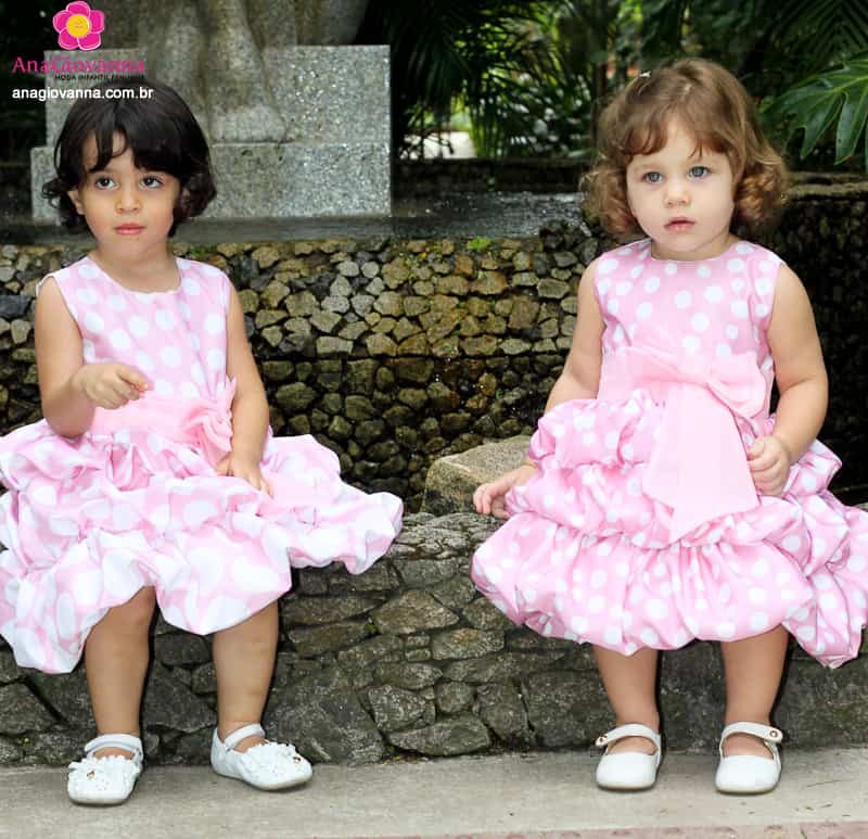 Vestidos de festa infantil da Minnie Rosa