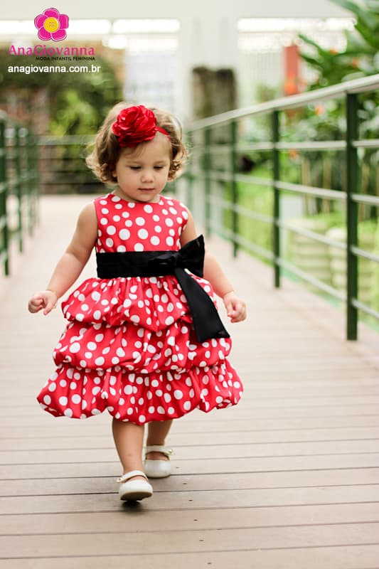Vestidos infantil de festa da Minnie Vermelho