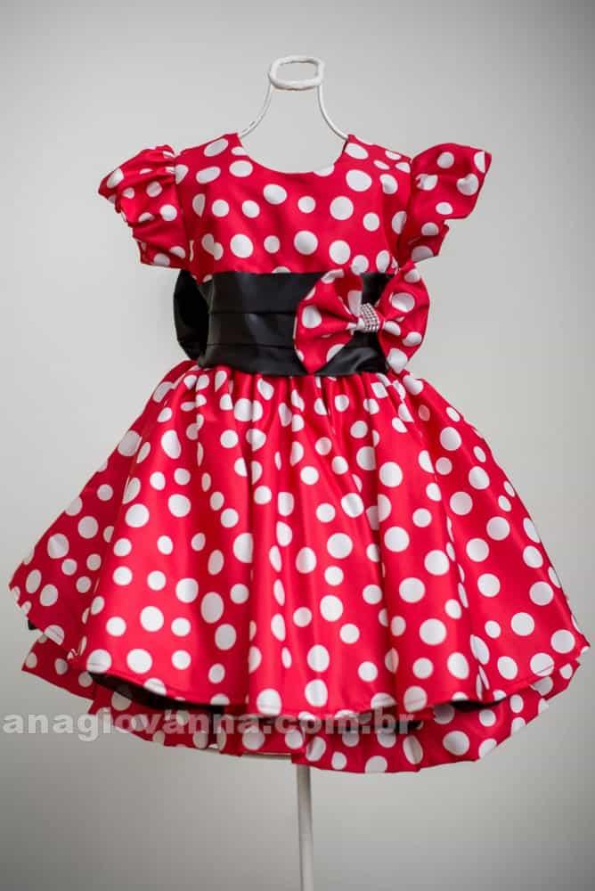 Vestido Minnie Vermelha com laço e barrado