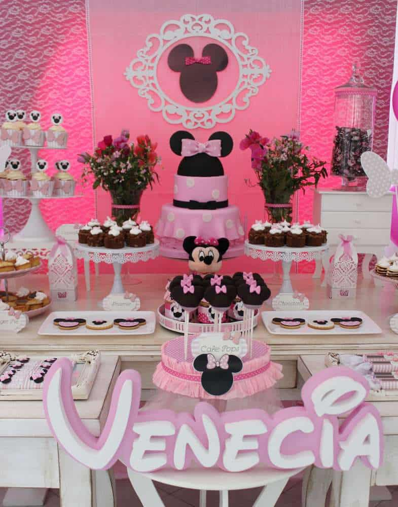 Dicas para decoração da festa da Minnie Rosa