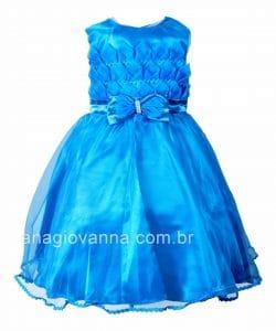 Vestido infantil azul para festa de casamento