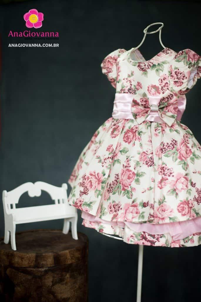Vestido infantil floral para aniversário feminino