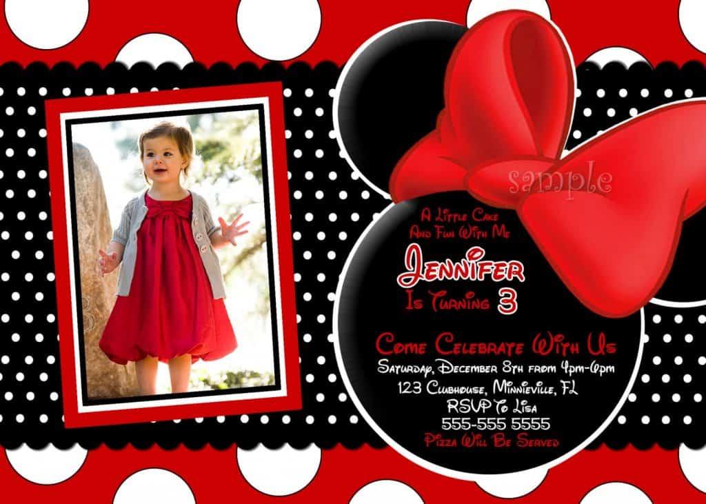 Sugestão para convite personalizado da Minnie vermelha