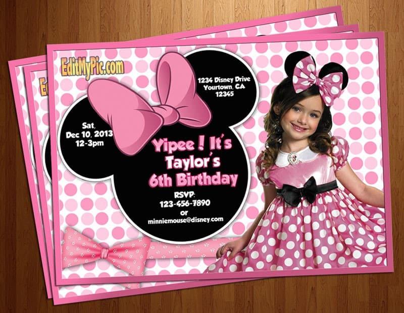 Festa infantil Minnie Rosa - Convite