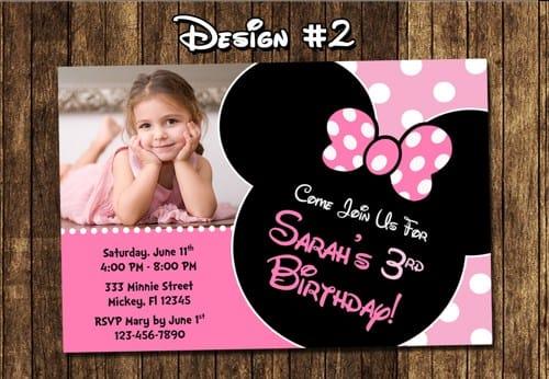 Convite personalizado na Minnie Mouse versão rosa