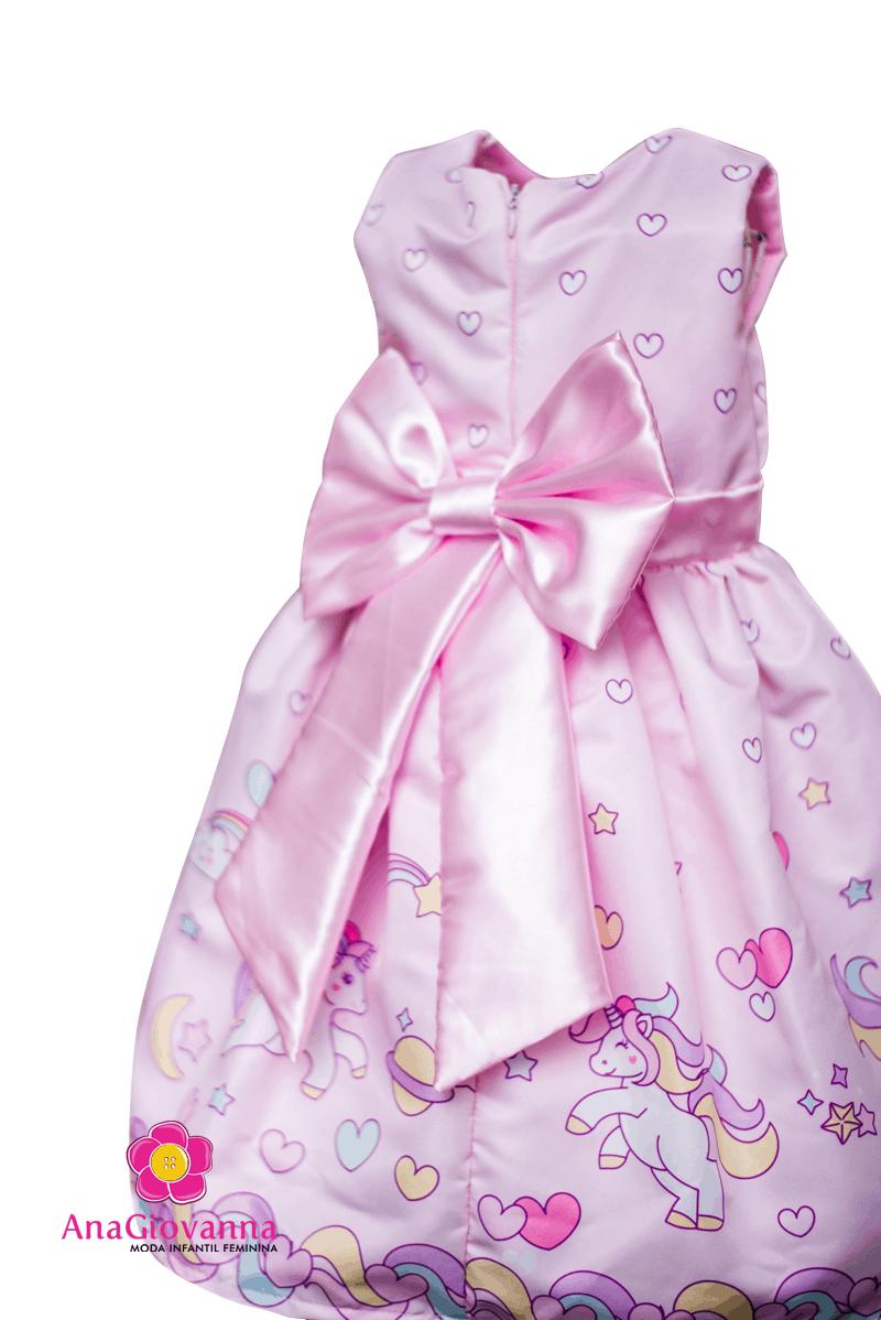 Vestido rosa infantil unicornio