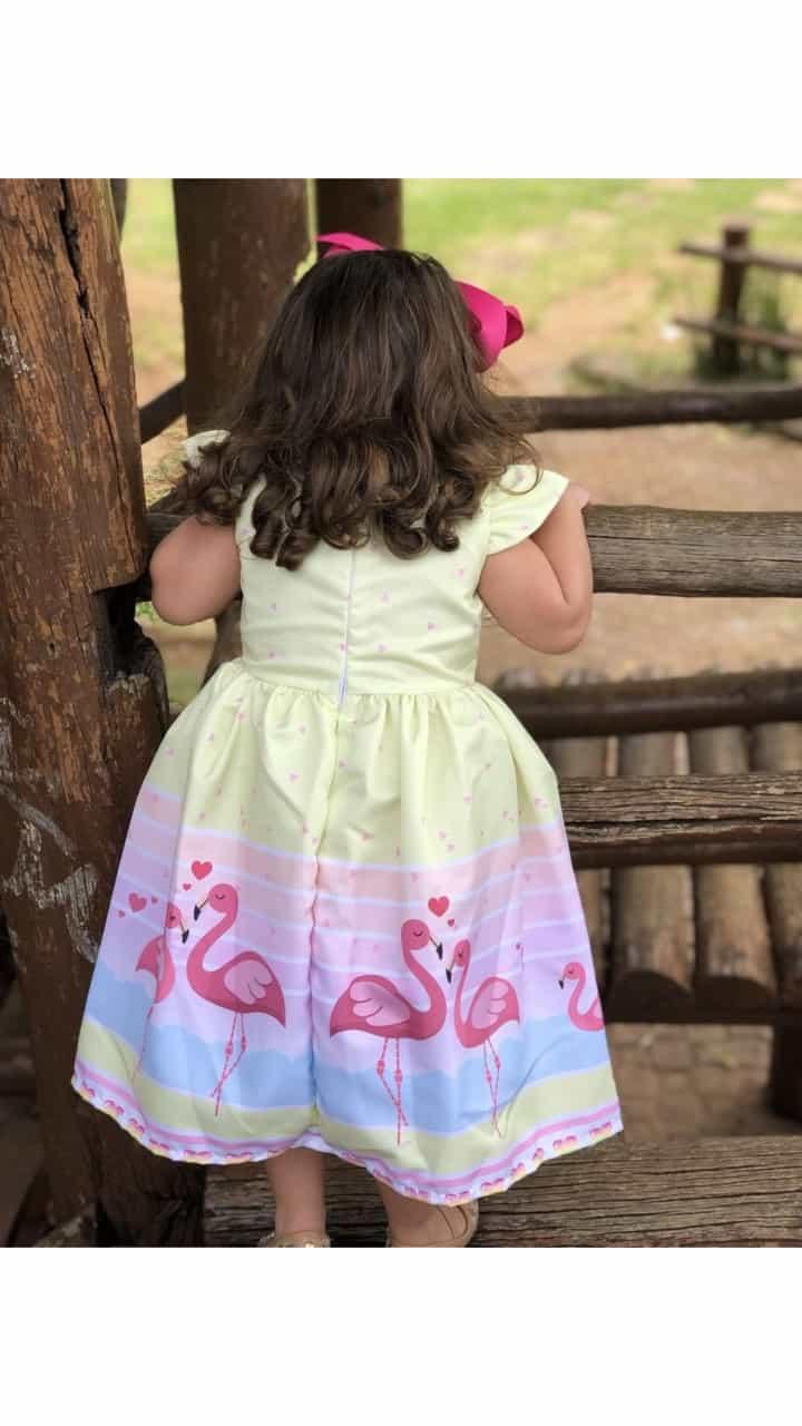 Vestidinho com estampa de Flamingos