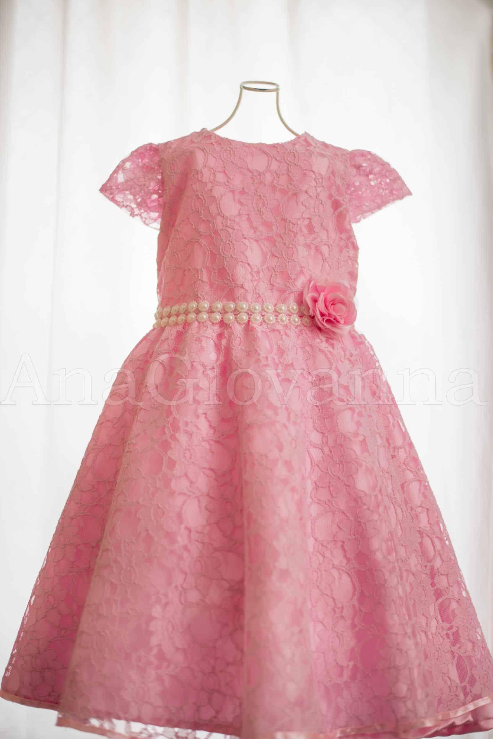 Vestido infantil de princesa rosa
