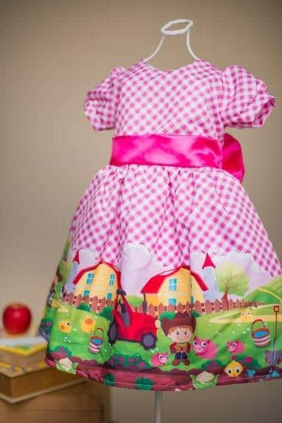 Vestido infantil festa fazendinha