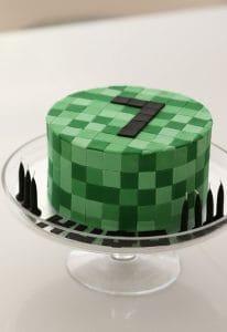 ideias de bolo Minecraft, bolo simples