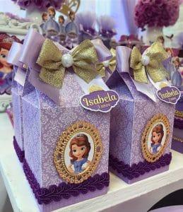 lembrancinhas Princesa Sofia, Caixinha de doces de papel