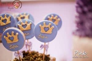 lembrancinhas Princesa Sofia, Pirulitos de chocolate