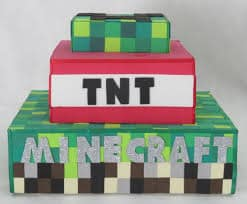 ideias de bolo Minecraft, Tema TNT e Creeper
