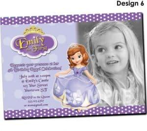 Convite da Princesa Sofia, Convite com foto, Foto da aniversariante