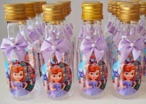convite,princesa,sofia,garrafa,decorada