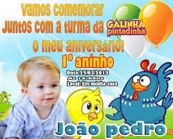 ideias de convite da Galinha Pintadinha, Convite colorido