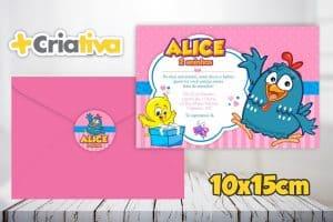 ideias de convite da Galinha Pintadinha, Convite rosa