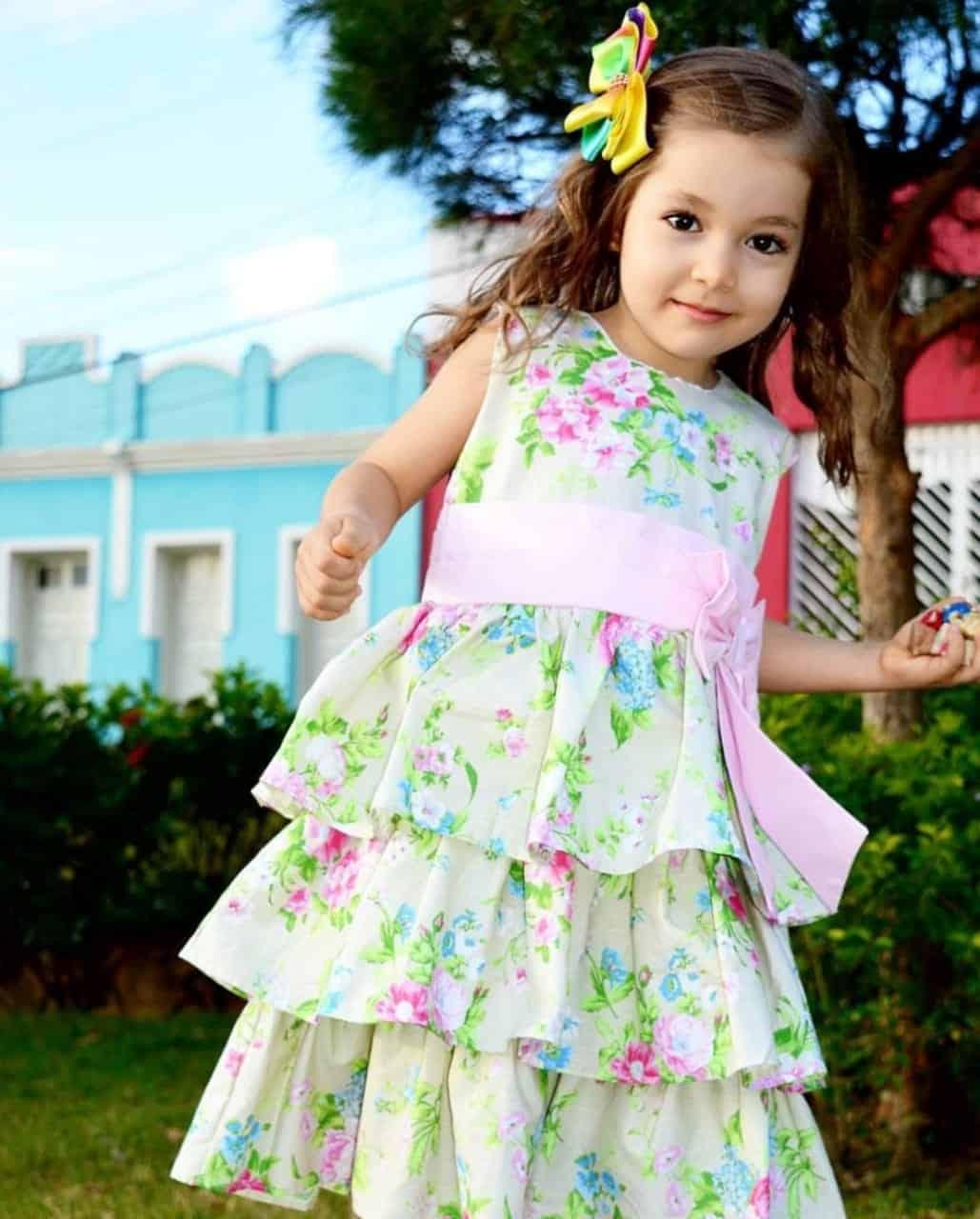 Vestido de festa infantil de tricoline