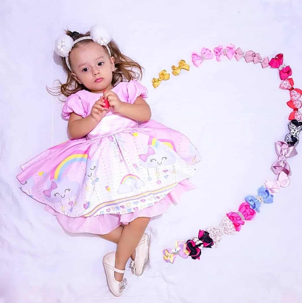 Vestido de festa infantil rosa claro